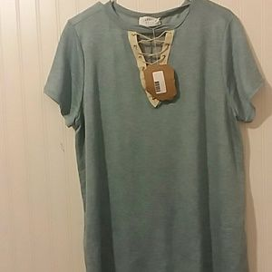 NWT Blue Lace Up Tee